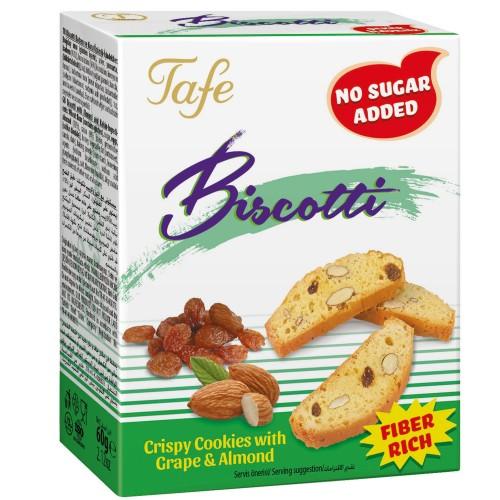 Biscotti Badem ve Üzümlü Bol Lifli Şeker İlavesiz Kıtır Kurabiye 120g