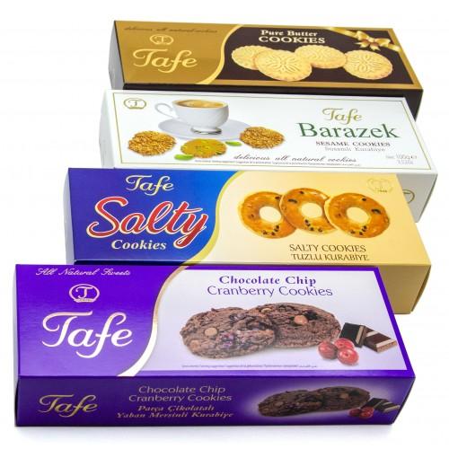 Tafe Tereyağlı Kurabiye140g, Salty Tuzlu Gevrek Çörek100g, Barazek Susamlı Kurabiye100g, Parça Çikolatalı Yaban Mersinli Kurabiye140g (4 lü paket)