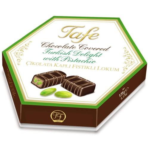 Çikolata Kaplı Fıstıklı Lokum Altıgen Kutu 175g