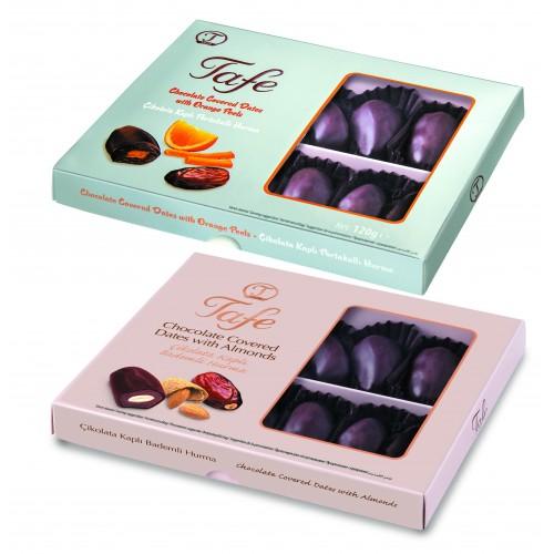Çikolata Kaplı Bademli ve Portakallı Hurma 120gx2 li paket